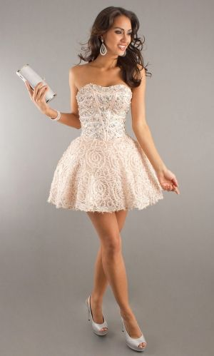 Ivory Short/Mini Beading Sleeveless Cocktail Dress For Sweet 16 ...