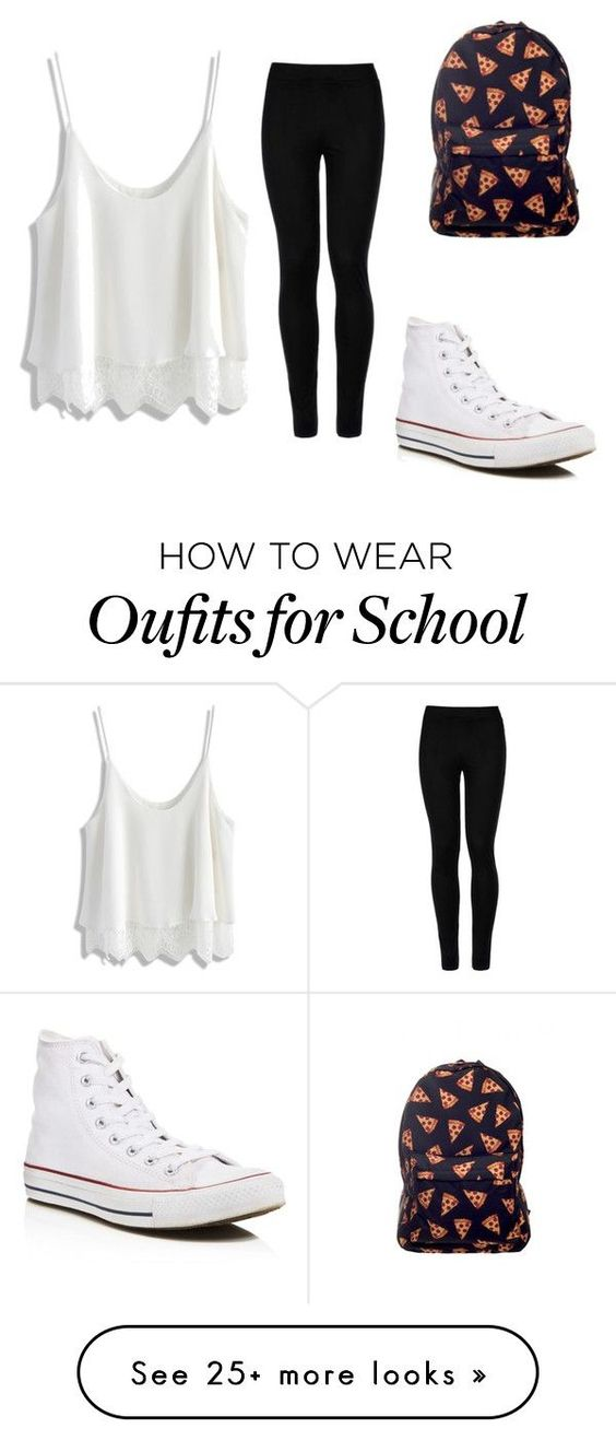 """""""Tomboy-Girly school outfit"""" by lianmol on Polyvore featuring Wolford, Chicwish and Converse"""