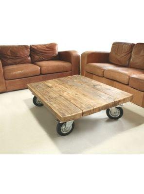 Tavolino da salotto vintage con ruote 100x80x20