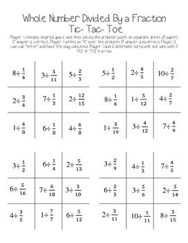 math worksheet : fraction division tic tac toe game whole number divided by a  : Tic Tac Toe Math Worksheets