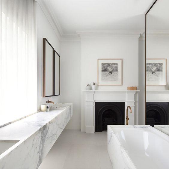 Bathroom by Smart Design Studio   @smart.design.studio #bathroom #instainspo #instadaily #instastyle #bathroomdesign #bathroominspo #marblebench #luxestyle