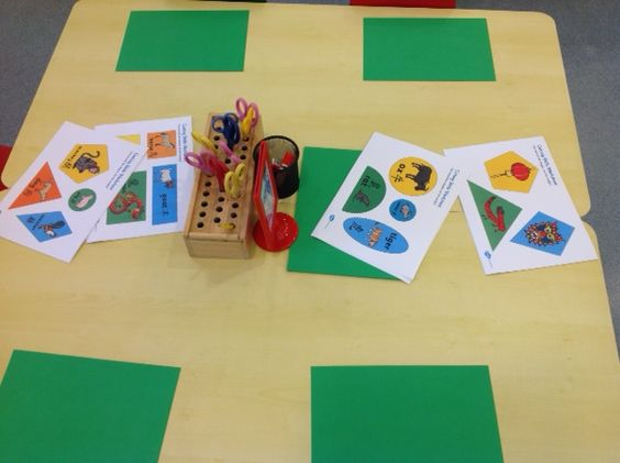 Older Nursery - shape cutting with a Chinese New year theme.