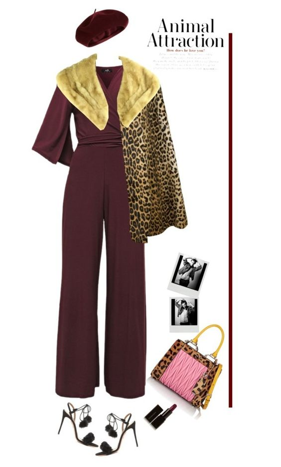 """Animal Allurement'"" by dianefantasy ❤ liked on Polyvore featuring Yves Saint Laurent, Accessorize, Aquazzura, Miu Miu, Illamasqua, DateNight, jumpsuit, animalprint and polyvoreeditorial"
