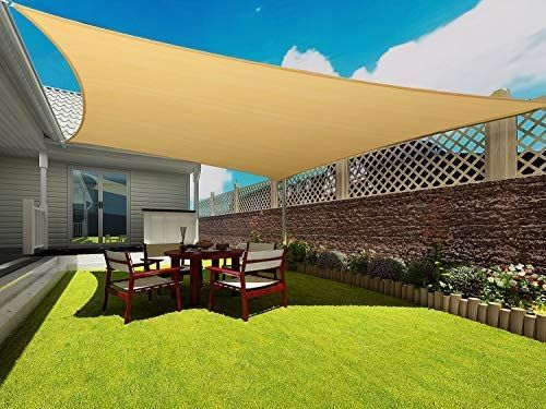 Amazon Com Coconut Rectangle Sun Sail Canopy 8 X 10 Ft Heavy Duty Shade Cloth Outdoor Patio Cover Uv Block Sunshade In 2020 Patio Shade Sun Sail Shade Sail Canopies
