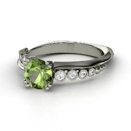 Isabella Ring, Round Green Tourmaline White Gold Ring with White Sapphire from Gemvara - love the design!