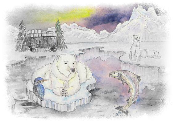 Eisbär, Lachs und Eisvogel (Auftragsarbeit)