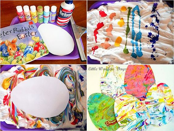 Use shaving cream, acrylic paint drizzled on, drag toothpick through to mix, lay paper egg shape on top, pull off and dry.