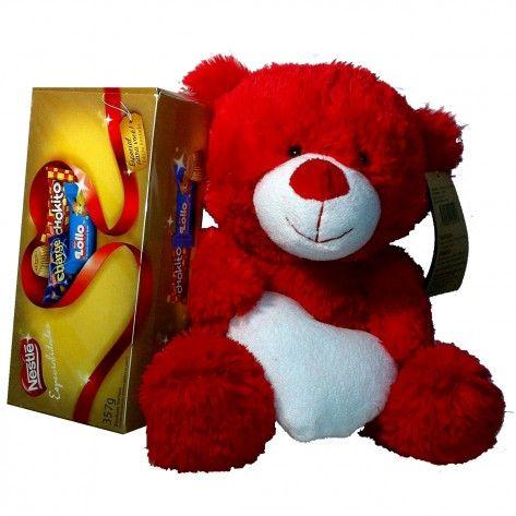 Urso carinhoso vermelho com coração branco + com caixa de chocolates