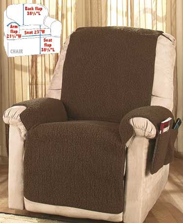 Protect your favorite chair from spills and other messes with the Fleece Recliner Cover. Soft and warm, it feels like real sheepskin, but it's actually made of lightweight polyester. Its one-piece patented design attaches with elastic straps. Fits a wide