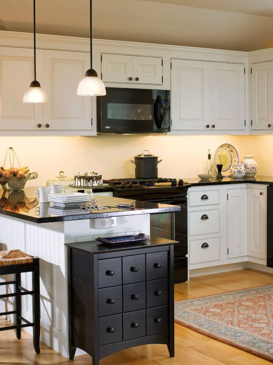 White Cabinets And Backsplash Black Counters Appliances Plus Accents Throughout More Contrast If You Like That