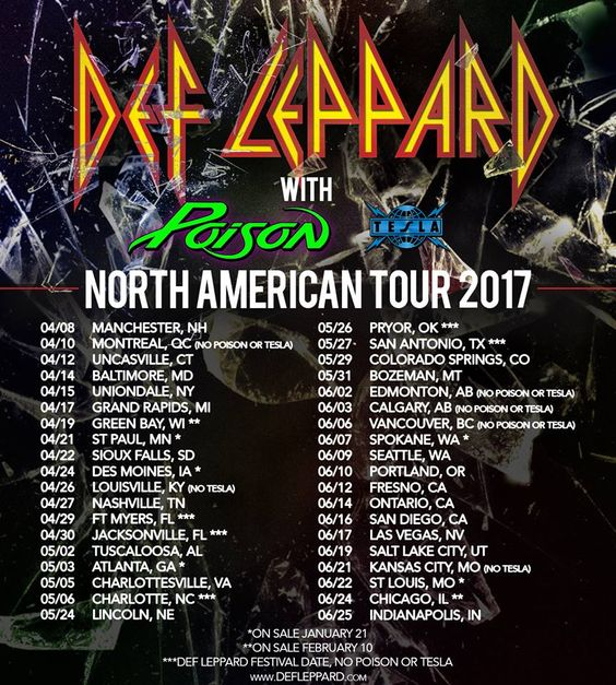Def Leppard Announces North American Tour Dates Defleppard Teslatheband Poison American Tours Def Leppard Music Concert Posters