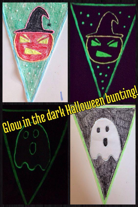 Homemade Halloween bunting using glow in the dark paint.