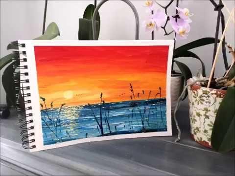 Peinture Acrylique Debutant Coucher De Soleil Peinture Acrylique Facile Youtube Peintures Acryliques Faciles Peinture Peinture Acrylique