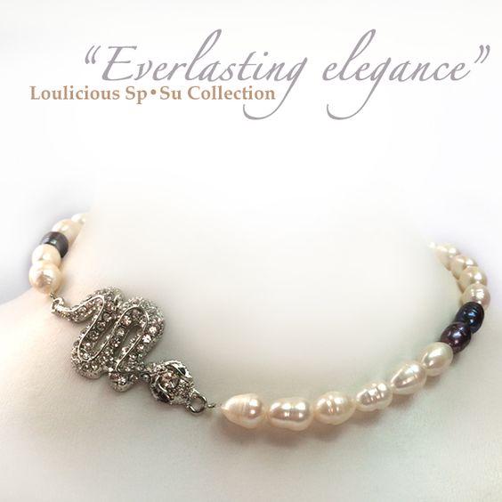 Black Tahitian pearls with white to pink Australian pearls & swarovski snake