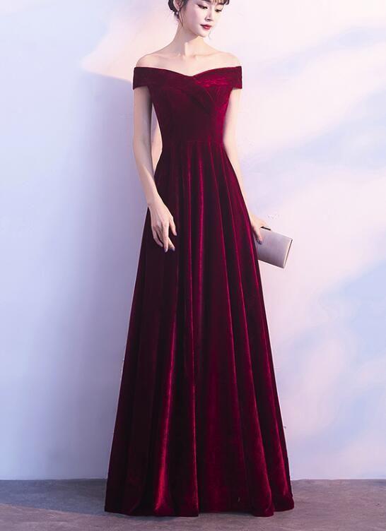 ea16863d73 Wine Red Off Shoulder Velvet Long Wedding Party Dress