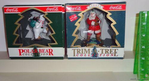 Coca - Cola Santa Claus Polar Bear Christmas Ornaments Lot of 2 in Box