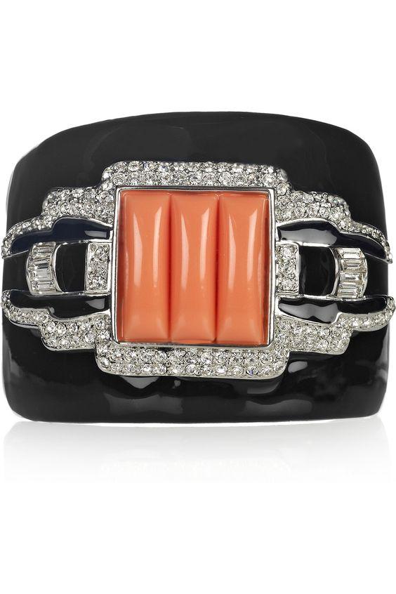Kenneth Jay Lane silver-plated crystal cuff