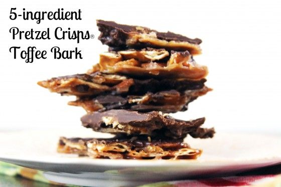 5 Ingredient Pretzel Crisps Toffee Bark via @Kristina Wiley