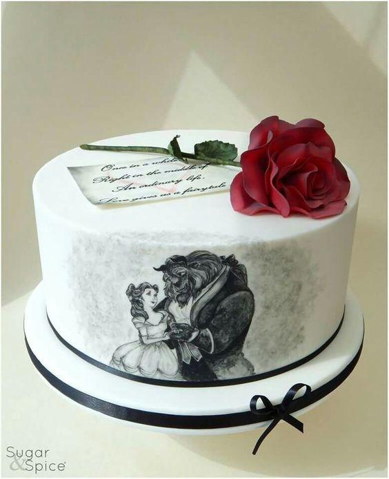 Beauty & the Beast handpainted cake
