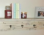 Antique white oak wall shelf/coat rack with hooks. Made to order. Check it out @ dreamydesignsbyjenny.etsy.com