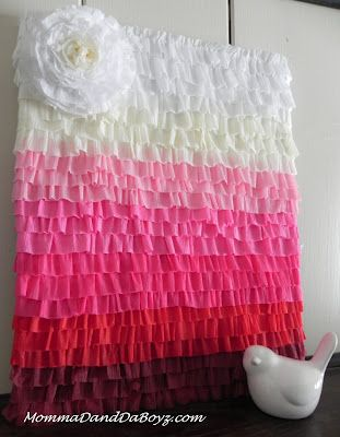 How-To: Crepe Paper Ruffled Ombre Art - Backdrop for Candy Buffet