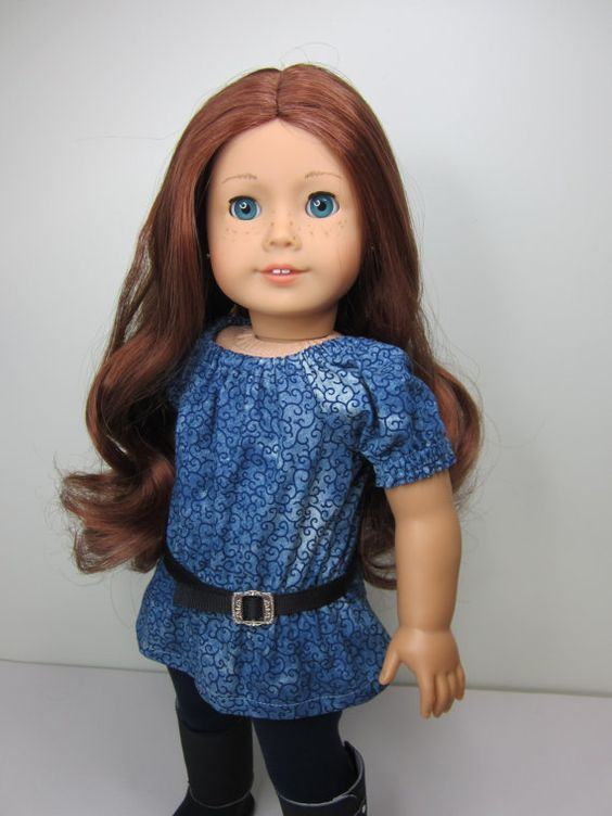American girl doll clothes-  Blue demin print uk  top with navy blue  leggings and belt by JazzyDollDuds