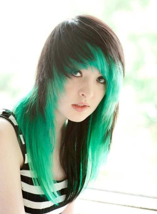 I love this hair I had this same hair! Black on top, emerald under, same fringe. not quite as long though.