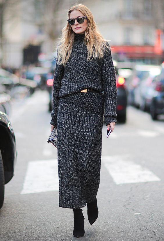 2021 Uzun Triko Kazak Elbise Kombinleri Gri Uzun Bogazli Kemer Detayli Paris Moda Haftasi Moda Stilleri Moda Haftalari