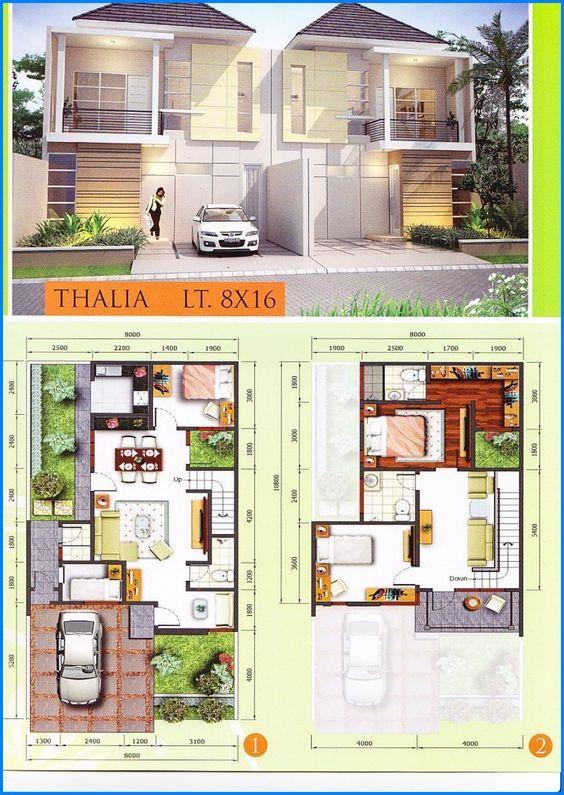 Denah Rumah Minimalis 2 Lantai Modern Type 45 90 Desain Rumah 2 Lantai Denah Rumah Rumah Minimalis