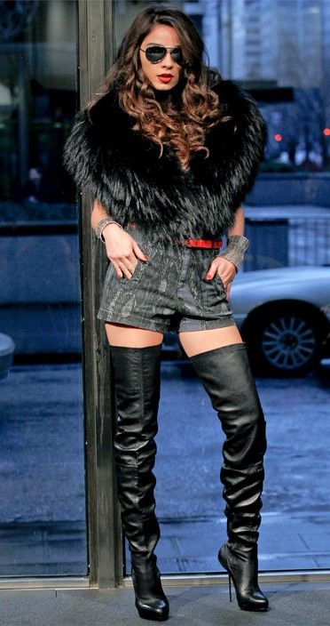 High boots, Leather knee high boots and Thigh highs on Pinterest