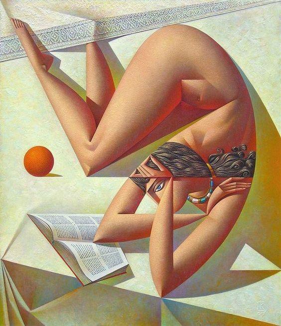 Георгий Курасов Женщина, читающая книгу, и апельсин: