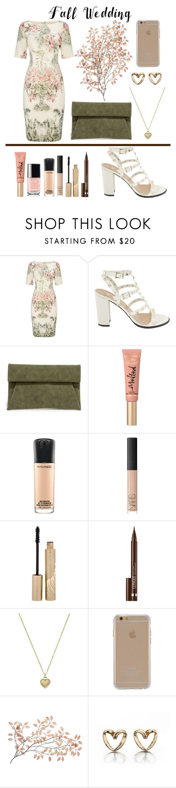 """Fall Wedding"" by kirsty-mckenzie44 ❤ liked on Polyvore featuring Adrianna Papell, Valentino, LULUS, Too Faced Cosmetics, MAC Cosmetics, NARS Cosmetics, Stila, Clinique, Michael Kors and Agent 18"
