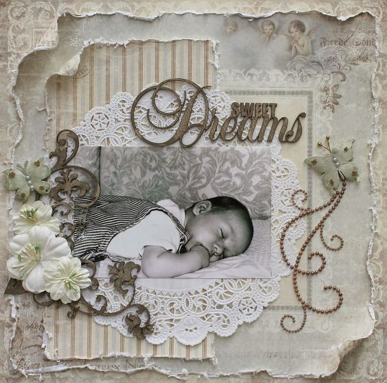 Sweet Dreams ~ Adorable vintage style baby page.: