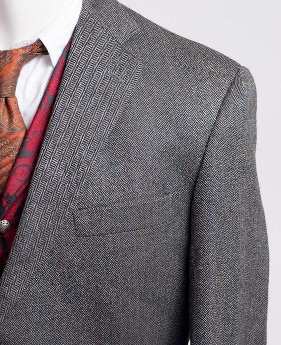 Hart Schaffner Marx Herringbone Blazer Suit Sport Jacket Coat Wool Mens 46R HSM #HartSchaffnerMarx #TwoButton