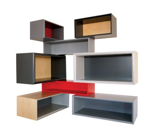 """Shift Corner Cabinet by Think Fabricate.  36""""/66"""" X 16"""" X 60"""" high.  Choice of lacquered colors and wood veneers on MDF."""