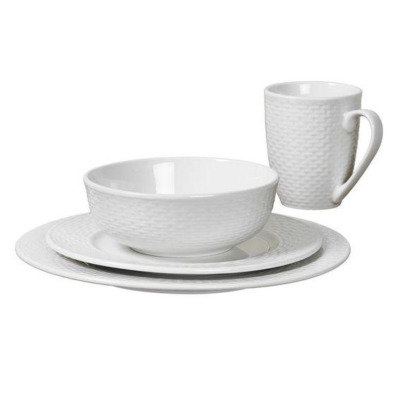 16-Piece Basketweave Dinnerware Set, White