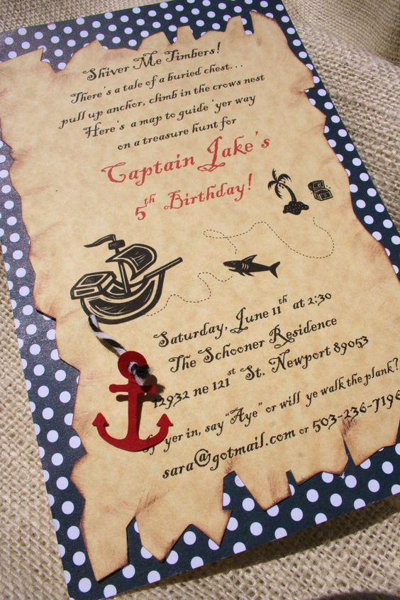 swashbuckling pirate birthday party by LittlePinkTractor on Etsy: