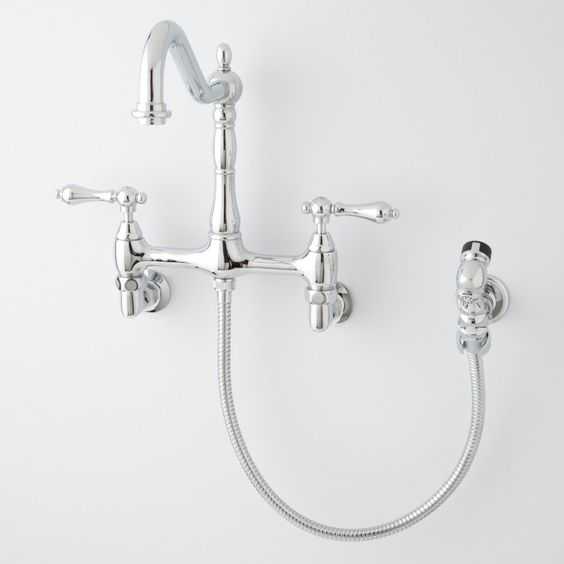 kitchen faucets faucets and laundry room sink on pinterest steam valve original wall mount bridge faucets