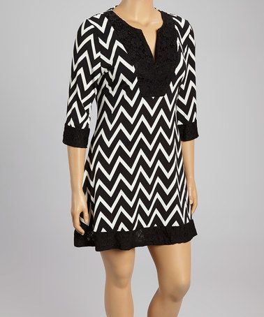Another great find on #zulily! Black & White Zigzag Dress - Plus by Reborn Collection #zulilyfinds