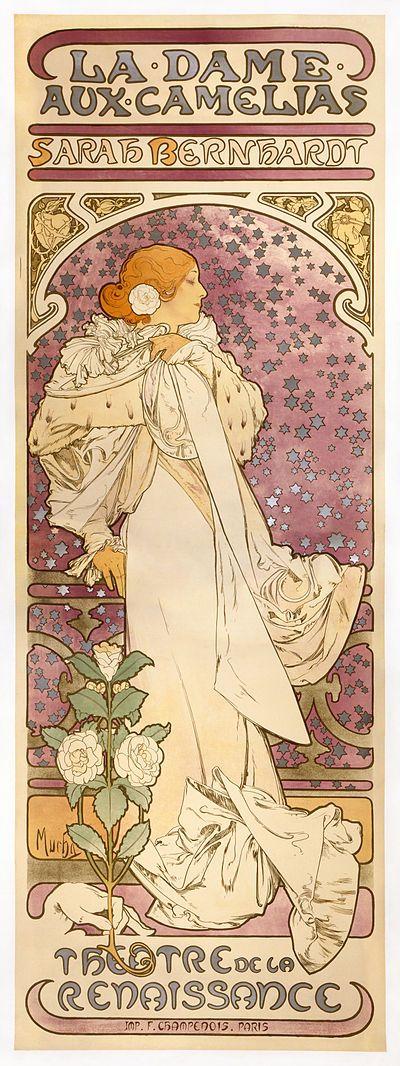 Alfons Mucha . La Dame aux Camélias, 1896