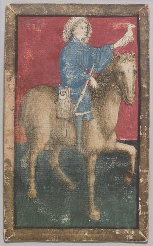 "Spielkarte Jagdhunde Ober aus dem ""Ambraser Hofjagdspiel"", Konrad Witz (Werkstatt), Basel, um 1440/1445."