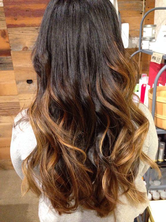 Hair , Dark black hair ombre balayage