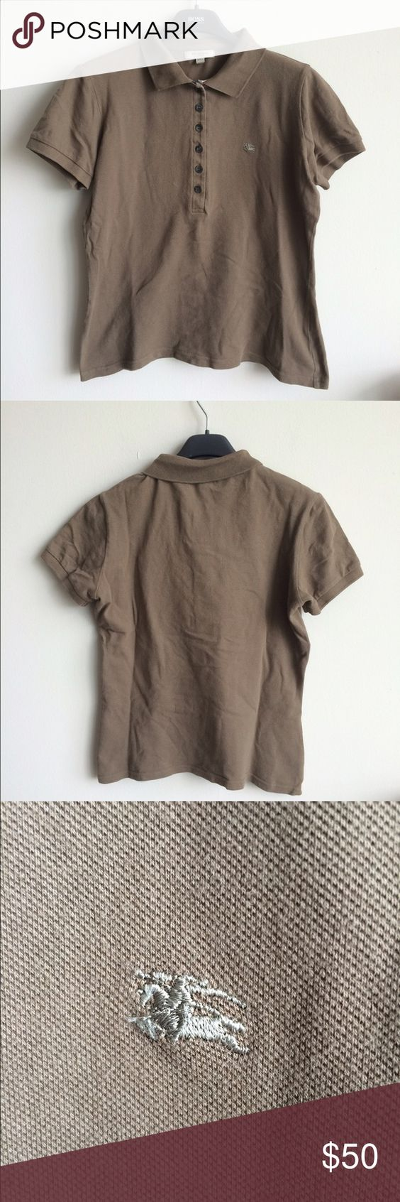 Burberry polo This is a beautiful olive green polo from Burberry London.  Top is a size medium, and like most polo style tops, it does run on the small side.  Top is 96% cotton, 4% elastine.  Top is free from rips, tears and staining. Burberry Tops Blouses