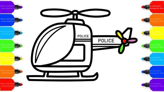 Police Helicopter Drawing For Kids Coloring Pages For Children Drawing For Kids Learning To Draw For Kids Coloring For Kids