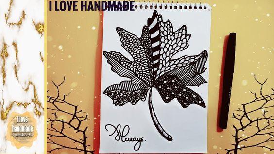 Draw Easy And Nice Leaf رسم ورقة الشجرة مزخرفة بالأبيض والأسود ولا أروع Handmade Children Book Cover Cursed Child Book