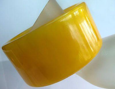 BAKELITE WIDE CHUNKY VINTAGE GOLD ISH BANGLE BRACELET ESTATE JEWELRY Gorgeous!