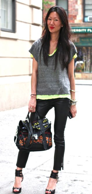 """""""busy week of running around nyc so most comfortable heels + slouchy  t's + leather + ps1 bag. when in a rush always going for my 'uniform'"""" marissa webb: Style Marissa, Eccentric Style, Marissa Webb, Leather Ps1, Leather Leggings, Leather Pants, Icon Marissa, Grey Leather, Casual Marissa"""
