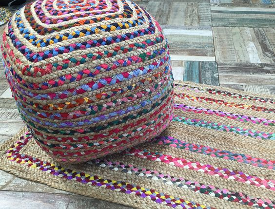 Hand Loomed Indian Pouffe With Multicoloured Cotton & Braided Square Jute. A…