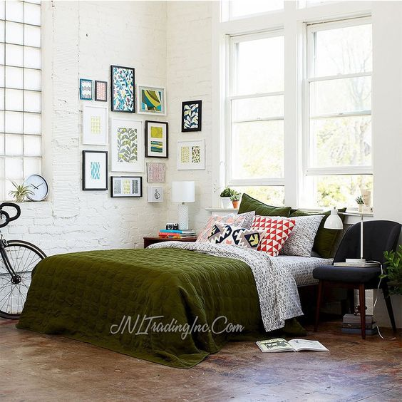 Room Essentials TWIN Olive Green Dot Stitch Quilt Cover/Blanket/Coverl – JNL…