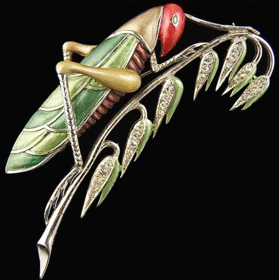 Rare BOUCHER (MB) Metallic Enamel & Diamante Large 'Grasshopper' Pin: